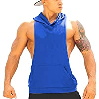 Panegy Bodybuilding Stringer Gym Hoodie Tank Top Sport Fitness Sleeveless Shirt - Blue S
