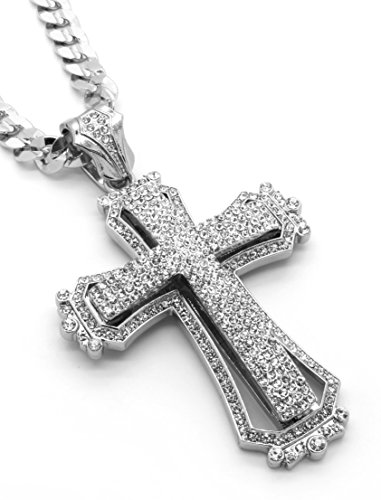 - Mens Silver Tone Large Hollow Cross Iced Out Pendant 30