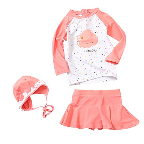 LOSORN ZPY Toddler Baby Girl Long Sleeve UPF 50+ Two Piece Rash Guard Set 120 Pink (Toddler Girls Swim Skirt)