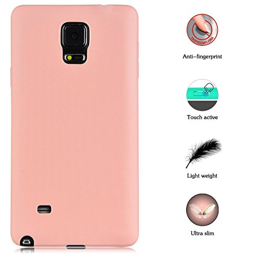 Funda Samsung Galaxy Note 4,Carcasas Samsung Galaxy Note 4 Gel TPU Silicona Flexible Candy Colors Ultra Delgado Ligero Goma Case Cover Caja Suave Gel Shock Absorción Anti Rasguños Anti Choque Bumper P Rosado