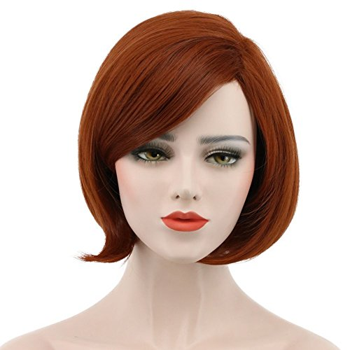 Karlery Women's Short Bob Straight Dark Orange Wig Halloween Cosplay Wig Anime Costume Party Wig