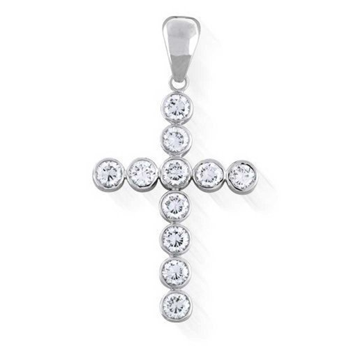 Bling Jewelry Sterling Silver CZ Bubble Large Cross Pendant