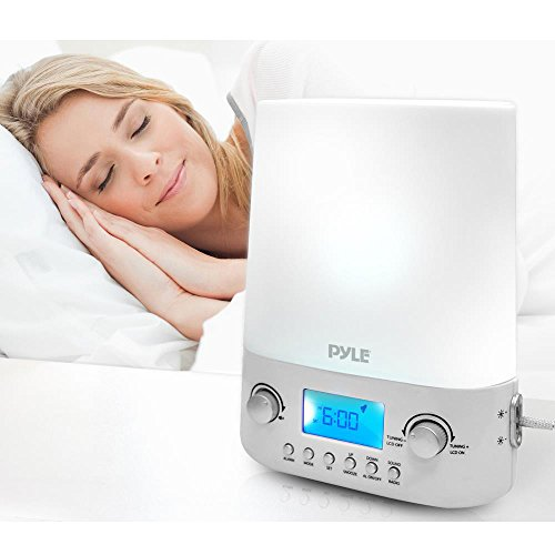 Pyle Bluetooth Radio Alarm Clock | Built-in Stereo Speakers | Time & Date Display | LED Light Lamp Sunrise Sunset | Deep Sleep, Relaxation & Meditation | Includes Power Adapter