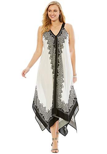 Roamans Women's Plus Size Scarf-Print Maxi Dress with Handkerchief Hem - Black Border Print, -