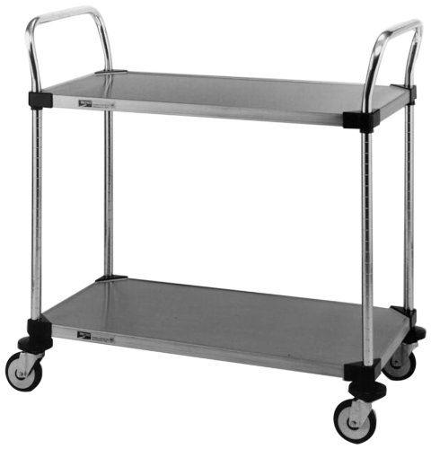 Intermetro MW106 Super Erecta Stainless Steel Utility Cart, 2 Solid Shelves, 21'' W x 36'' L by InterMETRO