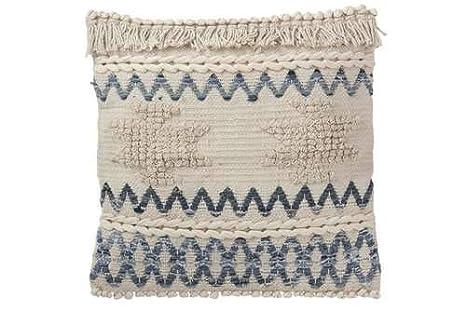 Cojín Denim Zigzag de algodón, Color Azul y Blanco: Amazon ...