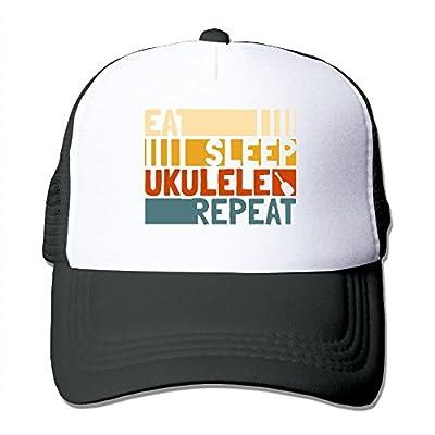 RUN_RUNNING&& Eat Sleep Ukulele Repeat Men's Adjustable Mesh Trucker Cap Hat