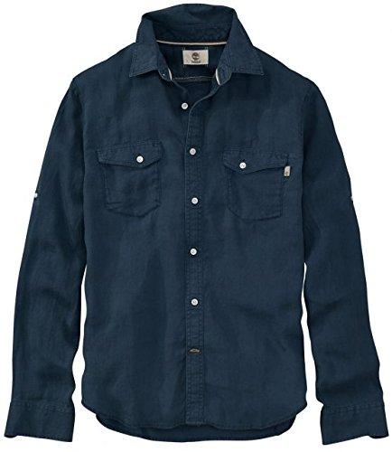 Timberland Long Sleeve Plaid (Timberland Men's Long Sleeve Mill River Linen Cargo Shirt Dark Sapphire Shirt)
