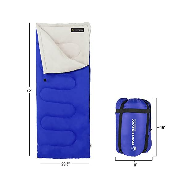 Wakeman Outdoors Sleeping Bag-Lightweight, Carrying Bag with Compression Straps Included-Great for Adults 4