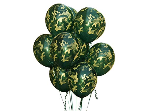 Camouflage Balloons. 24 per Pack. High Quality Latex 12 Inch Size. Perfect for Outdoors Themed, Hunting, or Military Celebration or Party.]()