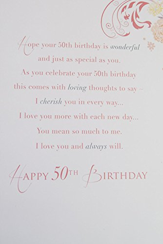 Happy 50th Birthday Wife Card Pink Elegant Lovely Verse Quality 50 Greeting  Card