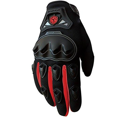 CRAZY AL'S CAMC29 Motorcycle Full-Finger Gloves Sporty Full-Finger Anti-Slip Motorcycle Gloves Black Red Blue Green M/L/XL (Red, L) -