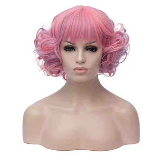 (Kadiya Women's Mixed Pink Lolita Multi-Color Short Wavy Halloween Unicorn Cosplay Wigs with)