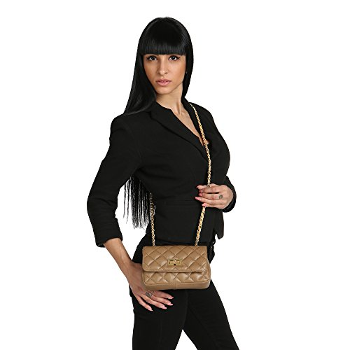 Borse Bag Clutch Leather Shoulder Quilted 19x13x6 Woman Chicca Italy Made In Mud Cm Genuine xfqTUBw