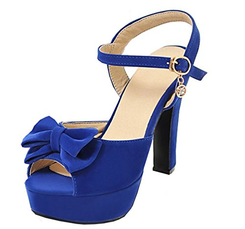 Easemax Women's Bows Platform Peep Toe Ankle Buckle Strap High Chunky Heel Sandals With Pendants 414nBEhtRtL home Home 414nBEhtRtL