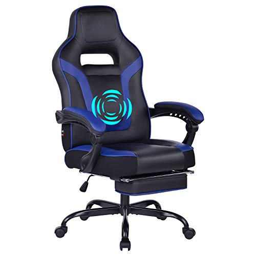 HEALGEN Big and Tall Gaming Chair with Footrest PC Computer Video Game Chair Racing Gamer Pu Leather Chair High Back Swivel Executive Ergonomic Office Chair with Headrest Lumbar Support (9076-Blue)