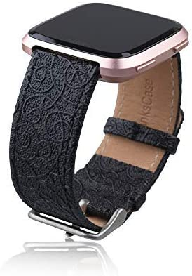 Genuine Leather Replacement Band with Beautiful Embossed Pattern for Fitbit Versa SmartWatch Black Sport Thankscase Bands for Fitbit Versa