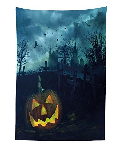 Lunarable Halloween Tapestry, Halloween Pumpkin in Spooky Graveyard