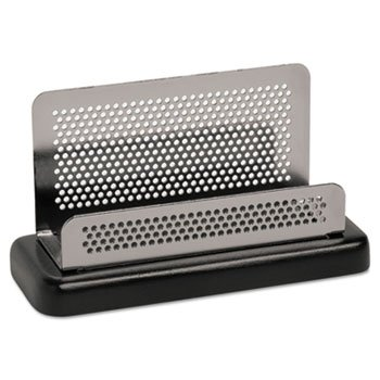 Rolodex E23578 Distinctions Business Card Holder Capacity 50 2 1/4 x 4 Cards Metal/Black