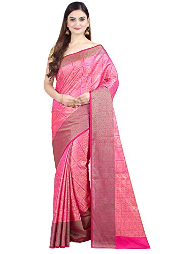 Chandrakala Women's Pink Art Silk Indian Ethnic Banarasi Saree,Free Size(1313PIN)