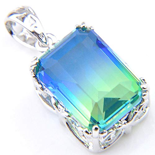 - Jewelryamintra 26 CT Jewelry Gift Rectangle Ocean Blue Topaz Gemstone Silver Necklace Pendant