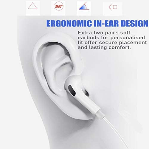 2 Pack-Apple Earbuds/Headphones/Earphones with 3.5mm Wired in Ear Headphone Plug(Built-in Microphone & Volume Control) Compatible with iPhone,iPad,Compter,MP3/4,Android etc[Apple MFi Certified] 414nC71YO3L