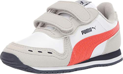 PUMA Baby Cabana Racer Velcro Sneaker, White-Gray Violet-Cherry Tomato-Peacoat, 4 M US -