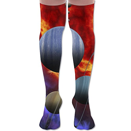 Men's Women's Solar System Fashion Over Knee High Socks Athletic Tube Stockings Classic Sports Sock - Thermal Swimwear Uk