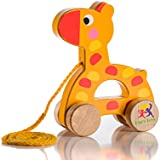 Wooden Pull Along Giraffe Toy - Beautiful Giraffe Pull Along Toy For Baby Boy & Girl - The Best Toy For 1-Year Olds and up- Outdoor & Indoor Toy For Babies & Toddlers- Child Safe Toy