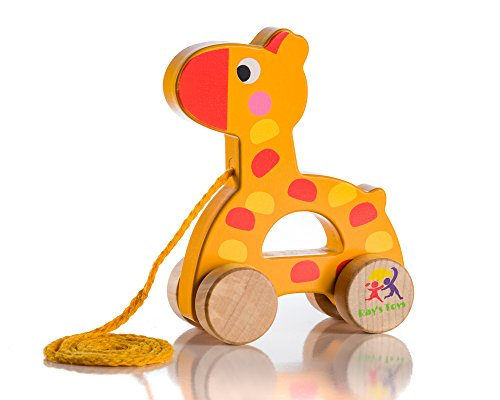- Wooden Pull Along Giraffe Toy - Beautiful Giraffe Pull Along Toy For Baby Boy & Girl - The Best Toy For 1-Year Olds and up- Outdoor & Indoor Toy For Babies & Toddlers- Child Safe Toy