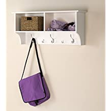 Winslow White 36 inch Wide Hanging Entryway Shelf, Wood