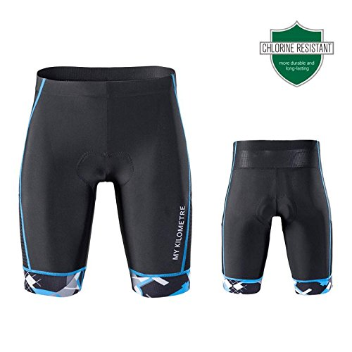 My Kilometre Triathlon Men`s Shorts 9 inches Blue with Two pockets ,Chamois for Long-distance Tri Race,Running short,swimsuit (black-blue, medium)