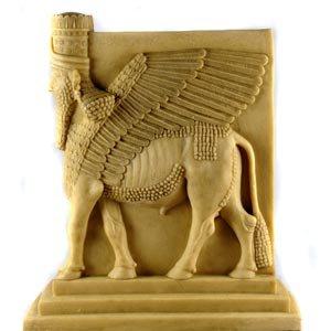 Made 4 Museum Human-Headed Winged Bull (Lamassu) Assyrian, Standing Sculpture, (Winged Bull)