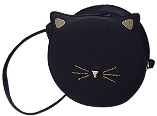 QZUnique Women's PU Round Satchel Cute Cat Face Wallet Cross Body Shoulder Bag Tote - Face Round Cats