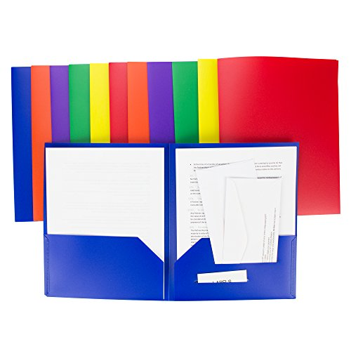 2 Pocket Folders - Heavy Duty Plastic Folders - Set of 12 Assorted Colors (Primary Colors) - Sturdy and Waterproof File Folders by DIY Crew
