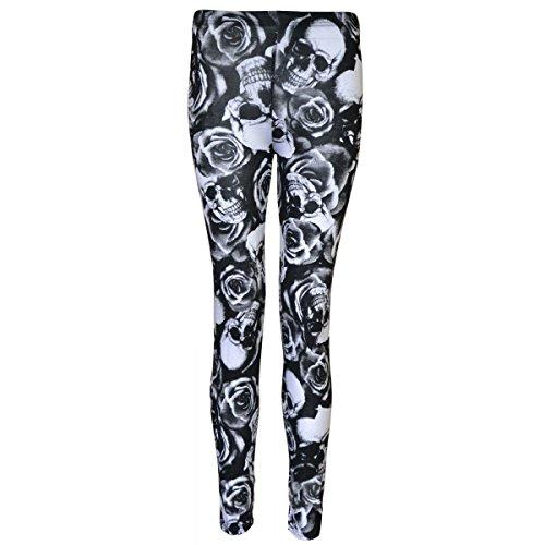 Candy Girl Clothing Plus Size Pattern Plain Leggings (ML, Skull Rose)