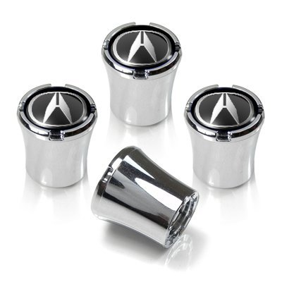 Acura Silver Logo Chrome Tire Stem Valve Caps