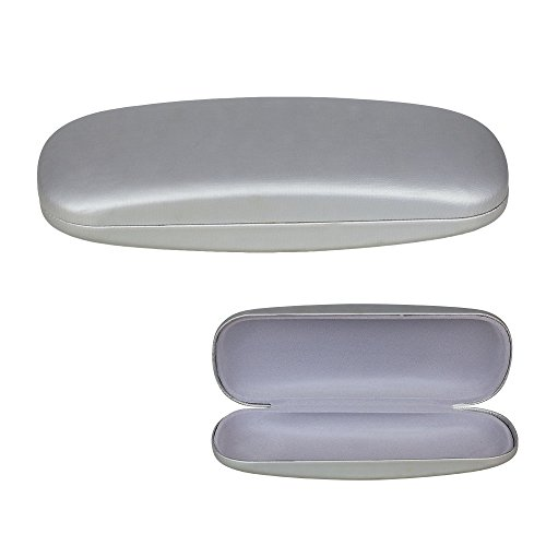 Hard Shell Eyeglass Case, Protective Case for Glasses and Sunglasses, Silver, By ()