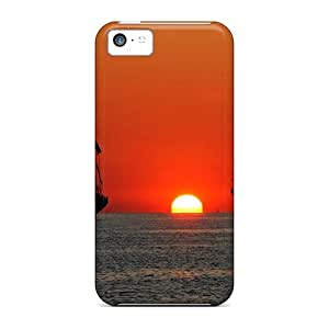 Top Quality Protection Tall Ships At Sea In Sunset Case Cover For Iphone 5c