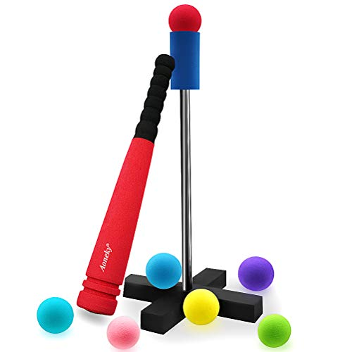 Aoneky Mini Foam Tball Set for Toddlers - Carry Bag Included - Best Baseball T Ball Toys for Kids Age 2 Years Old - Upgraded Version (Red)