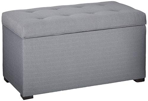 MJL Furniture Designs Angela Collection Button Tufted Upholstered Lift Top Medium Sized Bedroom Chest Storage Trunk, HJM100 Series, Dark Gray