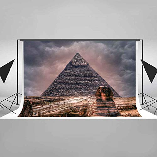 EARVO 7x5ft Egypt Backdrop Sphinx Pyramid Photography Background Egyptian Themed Party Photo Portrait Cotton Backdrop Photo Studio Props EALS454 -