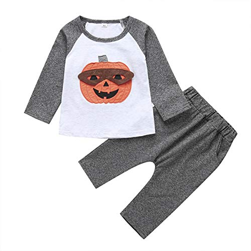 Childrens Halloween Outfits (Baby Boy Girl Pumpkin Print T- Shirt Toddler Kids Halloween Outfits Set Long Sleeve Tops+ Pants Costume Clothes (Grey, 6-12)