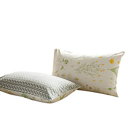 VClife Floral Pillow Cases- Set of Two- Envelope Closure End, Yellow Floral Green Leaves Branches Pattern White Design