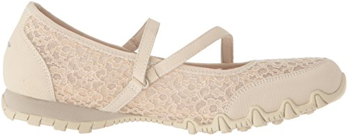 Jane Mary Bikers Provocative Natural Detail Upper Fit a Women's Laced Skechers Relaxed Flat zwq4vn