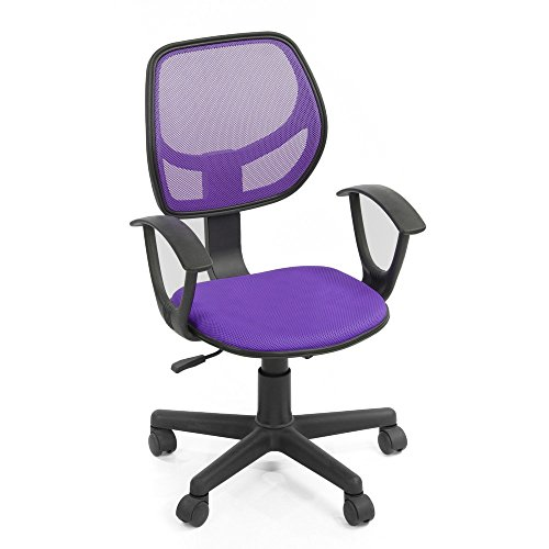 FurnitureR Computer Desk Chair Task Chair Office Swivel with Arm Mid-Back Mesh Purple