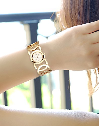 Novadab Immortal Love Accent Loop Bracelet Watch, Wrist Watches for Ladies (Gold) by NOVADAB (Image #4)