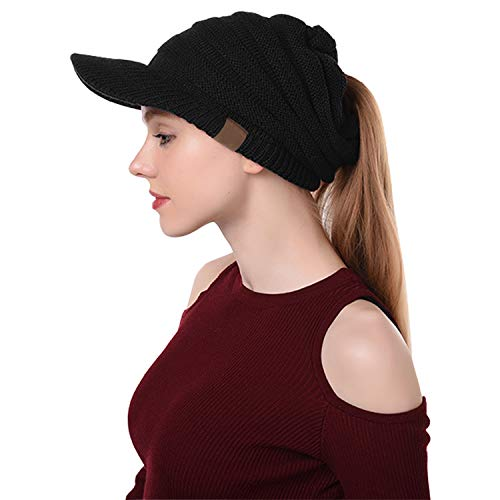 (Libertepe Ponytail Beanie Cable Knit Winter Hat with Visor Hole for Women and Girls Black)