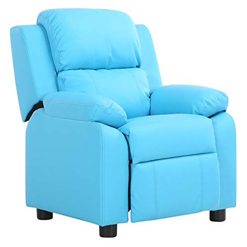 Cheap LCH Contemporary PU Leather Kids Recliner with Deluxe Padded Backrest and Flip-up Storage Arms, Mini Little Small Recliner Sofa Chair for Baby Toddler Boys Girls Childrens – SkyBlue