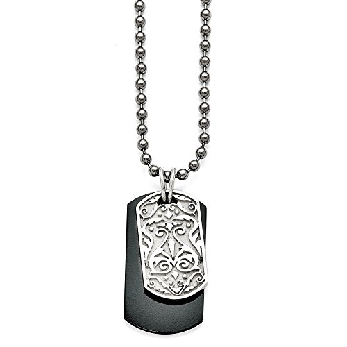 - Q Gold Jewelry Necklaces Necklace with Pendants Titanium/Ster.SIL Black Ti Polished Etched Dog Tag Necklace